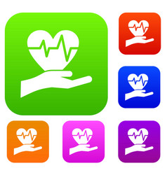 hand holding heart with ecg line set collection vector image