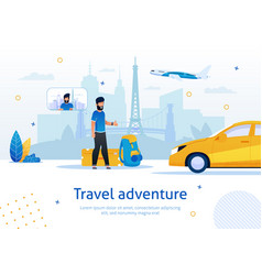 hitchhiking travel adventure flat ad banner vector image