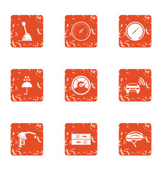 Inspection of machine icons set grunge style vector