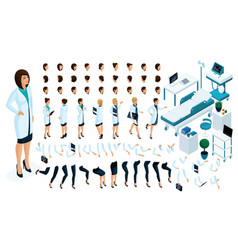 isometric constructor is a female doctor vector image