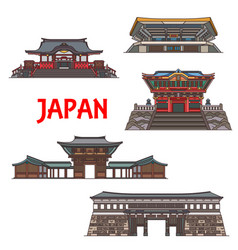 japanese travel landmark icons temple pagoda vector image