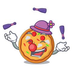 juggling pizza mascot cartoon style vector image