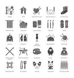 Knitting crochet hand made flat glyph icons set vector