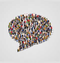 large group of people in the chat bubble shape vector image