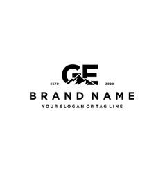 Letter ge mountain logo design vector