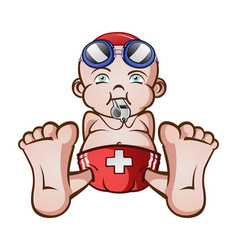 Lifeguard bacartoon character vector