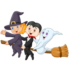 Little children and ghost fly with broom vector