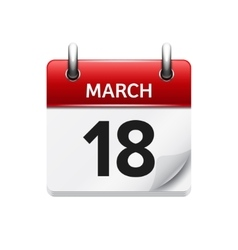March 18 flat daily calendar icon Date vector