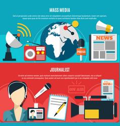Mass media and journalist horizontal banners vector