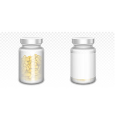 medicine bottles with yellow pills and blank label vector image