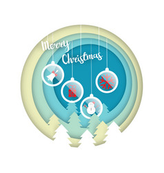 merry christmas with christmas ball decoration vector image