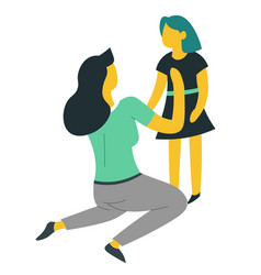 Mother and daughter dressing up isolated female vector
