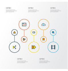 Multimedia icons colored line set with eject vector