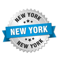 New York round silver badge with blue ribbon vector image vector image