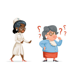 nurse doctor hurry to help confused grandmother vector image