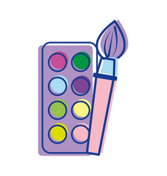 paint palette with brush art tool vector image vector image