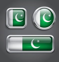 Pakistan flag glass buttons vector image