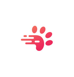 Paw dash tech fast quick logo icon vector