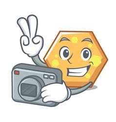 photographer hexagon mascot cartoon style vector image