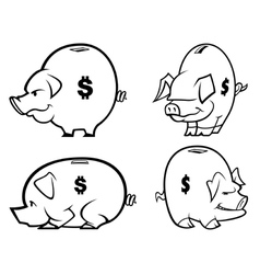 Piggy bank s one color vector