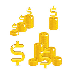 piles gold dollars isolated cartoon set vector image