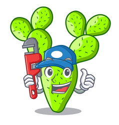 Plumber cartoon the prickly pear opuntia cactus vector