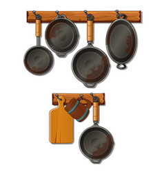 pots pans cutting board and mug kitchen utensils vector image