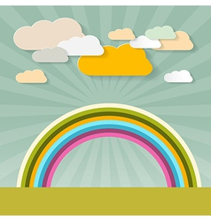 Rainbow and Clouds on Retro Background vector image