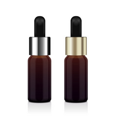 Realistic essential oil brown bottle set vector