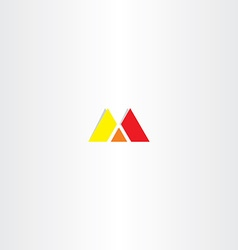 Red yellow letter m logo sign vector