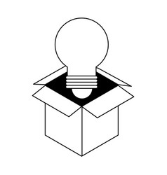 Regular lightbulb coming out of box icon image vector