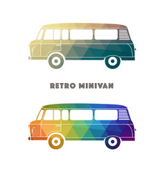 Retro colorful minivan vector