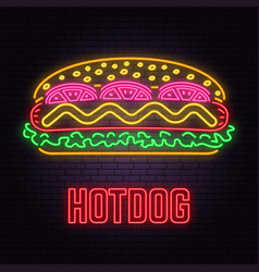 retro neon hot dog sign on brick wall background vector image