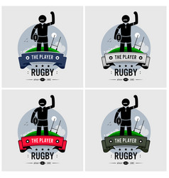 rugby club logo design artwork of strong rugby vector image