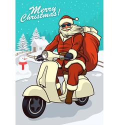 santa claus riding vintage scooter vector image