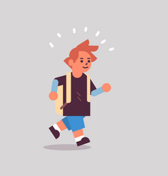 schoolboy with backpack running back to school vector image