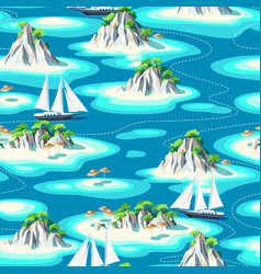 seamless pattern with islands and sea vector image