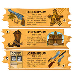 Set banners on the theme of the wild west design vector
