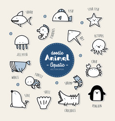 Set of aquatic animal icon vector