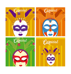 Set of carnival cards vector