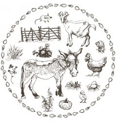 Set of hand drawn farm animals vector image