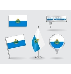 Set of San Marino pin icon and map pointer flags vector image