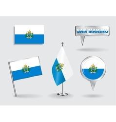 set san marino pin icon and map pointer flags vector image