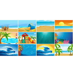 Set summer beach background vector
