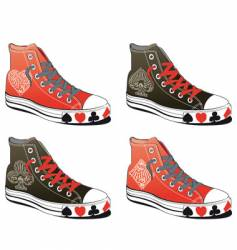 shoes with poker symbol vector image