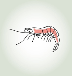 Shrimp in minimal line style vector