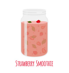 Strawberry smoothie vegetarian organic detox drink vector