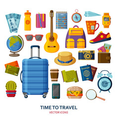 travel icons with suitcase and sunglasses and vector image