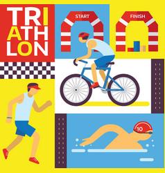 triathlon track swimming riding running banner vector image