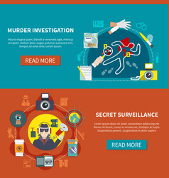 two detective banner set vector image